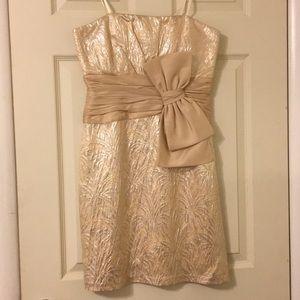 Dresses & Skirts - Strapless Gold Formal Dress